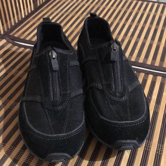 Black Leather Sneakers Zip